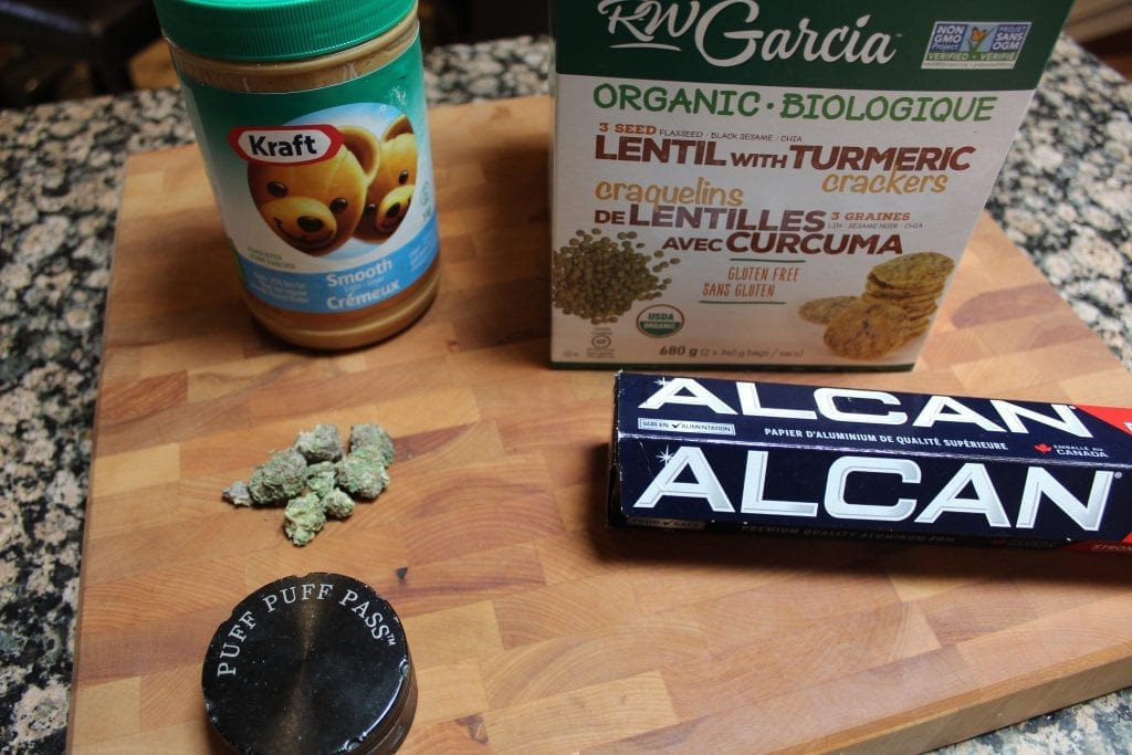 Peanut butter, aluminum foil, crackers, and cannabis. All the ingredients required to make firecrackers