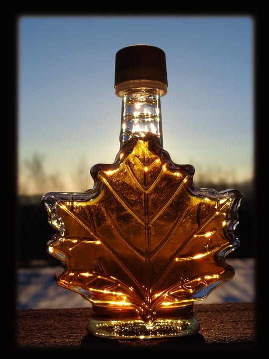 weed-infused maple syrup. The best weed edible for breakfast. This unique maple leaf bottle holds the golden liquid inside.