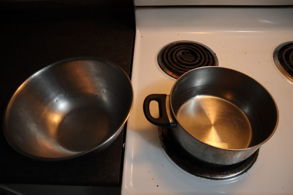 double boiler to help make cannabutter.