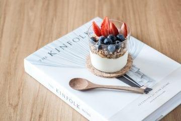 Cannabis yogurt with blueberries and raspberries and granola in the yogurt