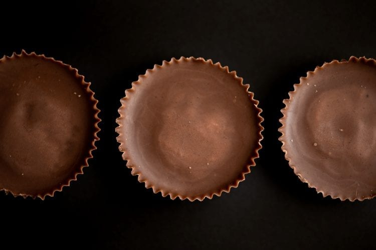 overhead macro of 3 weed edible peanut butter cups.