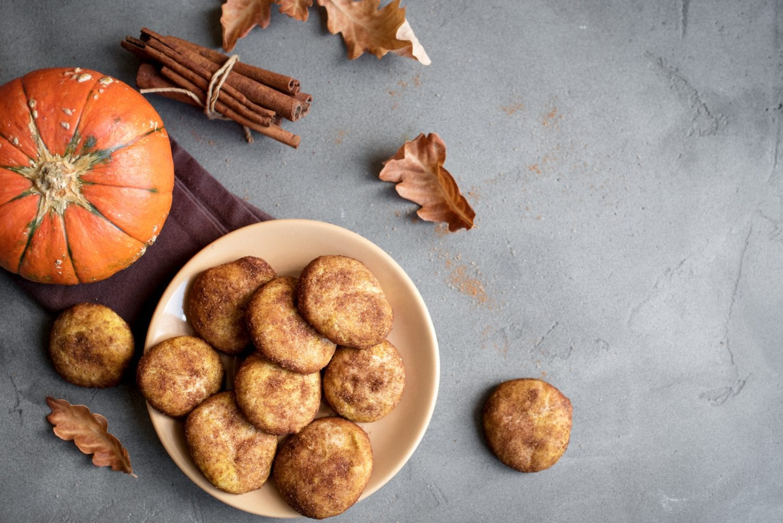 Weed Pumpkin Snickerdoodle Cookies. Seasonal Autumn Homemade Cookies, top view, copy space. Traditional desert Snickerdoodles for Autumn.