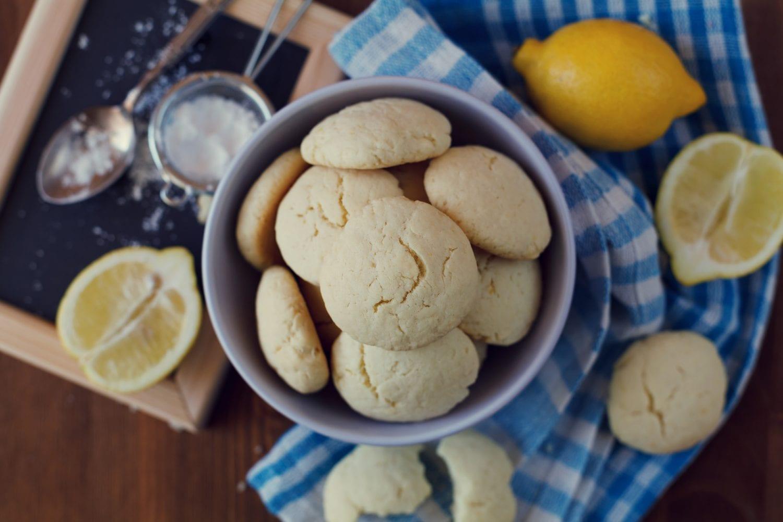 Weed Lemon cookies in plate, biscuit Shortbread, vintage toning