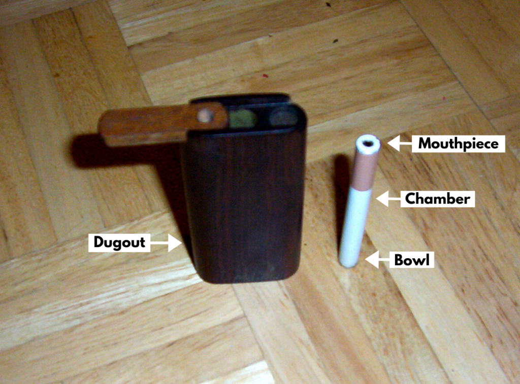 diagram of a dugout. The pipe and dugout are sitting on a wooden floor.