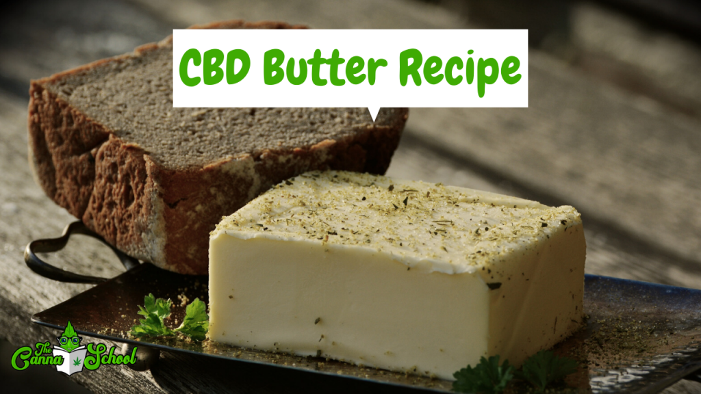 cbd butter, one of the best cbd edible recipes. The stick of butter has weed crumbs on it.