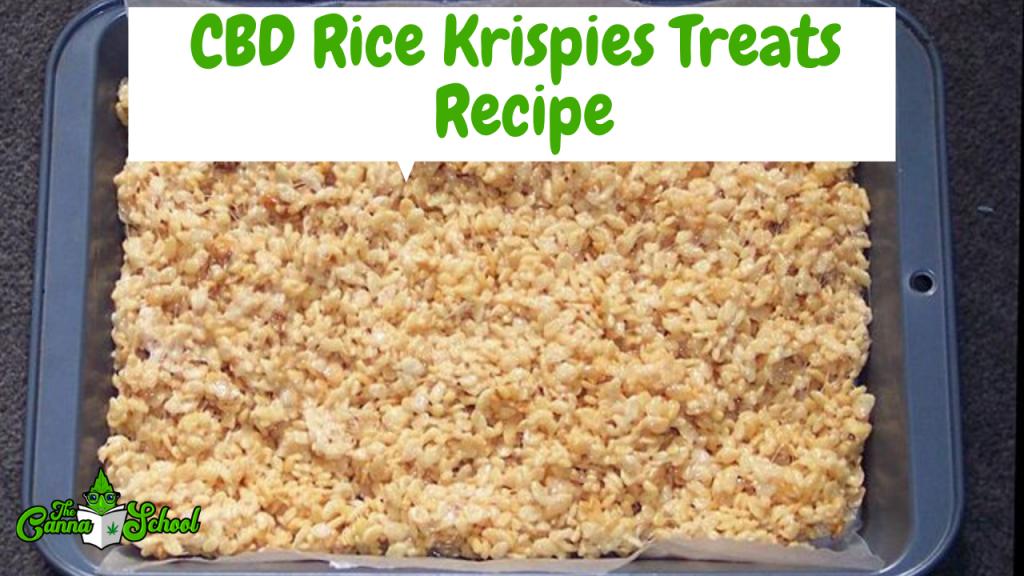 cbd rice krispies treats recipe. A pan is filled with the rice krispies treats.