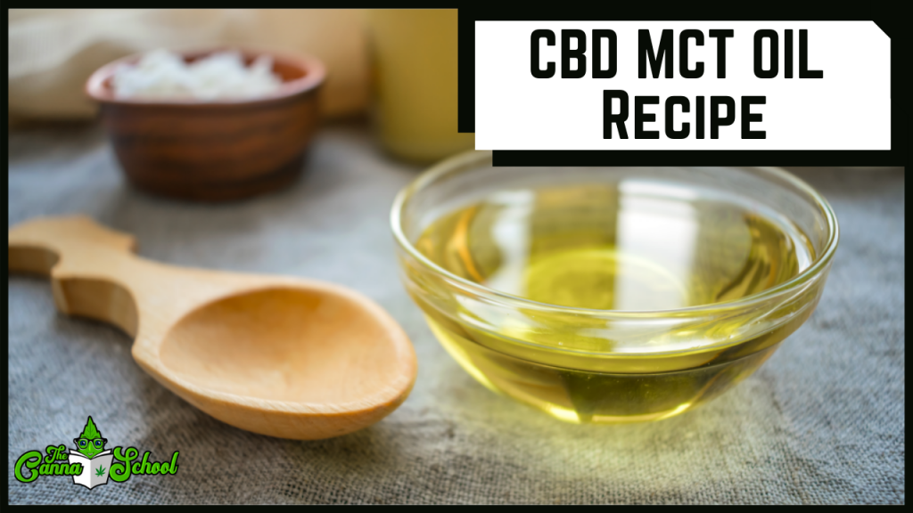 cbd mct oil recipe with a glass bowl filled with oil and a wooden spoon beside it.