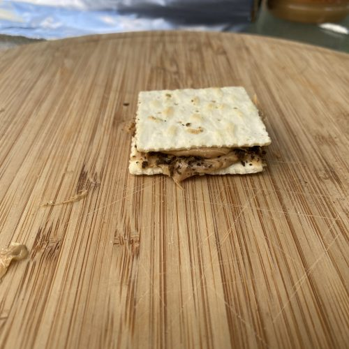 a weed firecracker on a wooden cutting board ready to eat