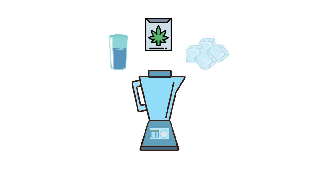 a cartoon design that includes a blender, ice cubes, frozen cannabis
