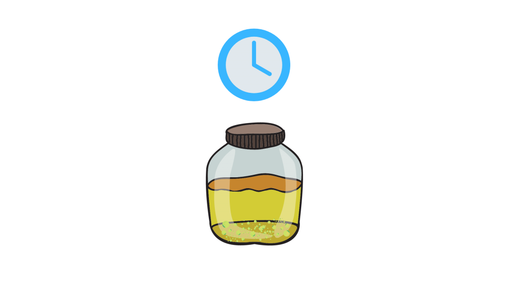 a cartoon diagram with a clock and glass jar filled with THC water