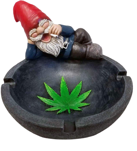 """""""gnaughty gnome"""" ashtray with a gnome holding and smoking a joint and pot leaf on the tray. This item makes it on the list of best stoner gifts."""