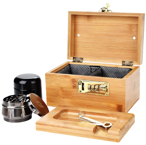 Complete bamboo stash box with grinder and packing tool. This item makes it on the list of best stoner gifts.