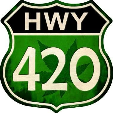 """A 420 weed sign that's one of the best stoner gifts. It has """"HWY 420"""" on the front."""