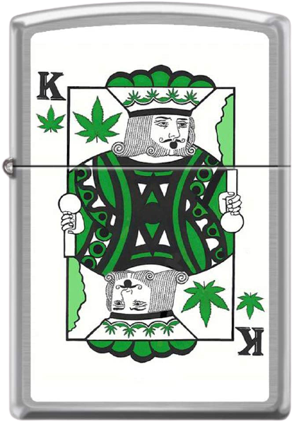 """Zippo """"king of pot"""" lighter. The metal lighter makes it on the list of best stoner gifts."""