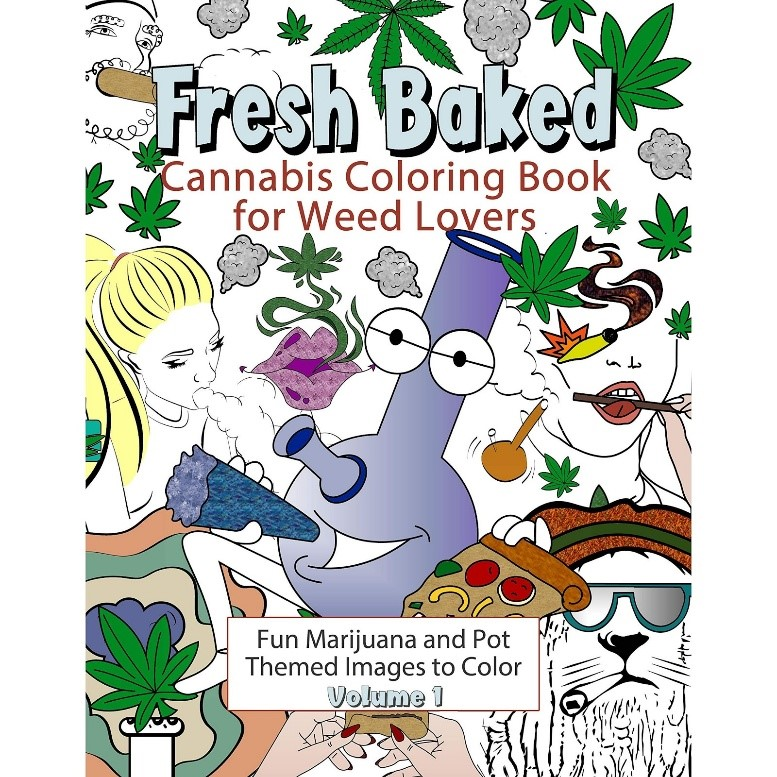 Fresh baked stoner coloring book for weed lovers. The cover has a bong smoking a jay.