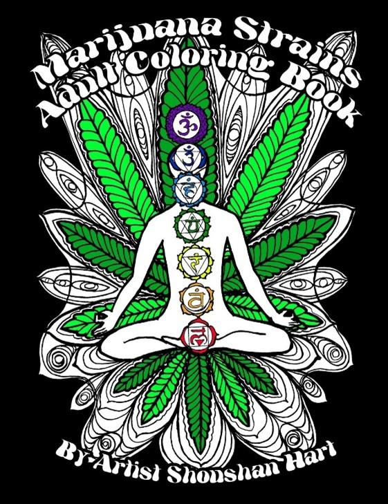 Marijuana strains adult coloring book cover. This cover includes a man sitting down meditating with his seven chakras.