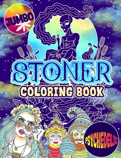 Stoner coloring book jumbo edition cover, the blue background has stars shining through it.