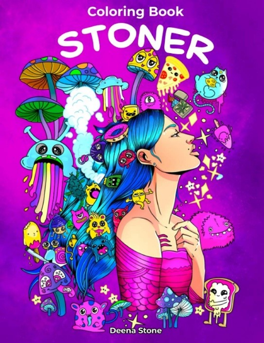 A cover for a stoner coloring book that is sold on amazon. The cover includes designs of mushrooms and fun animals.