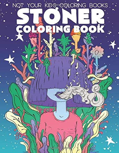 """Not your kids coloring books"", stoner coloring book with a fun avatar on the front blowing out smoke."