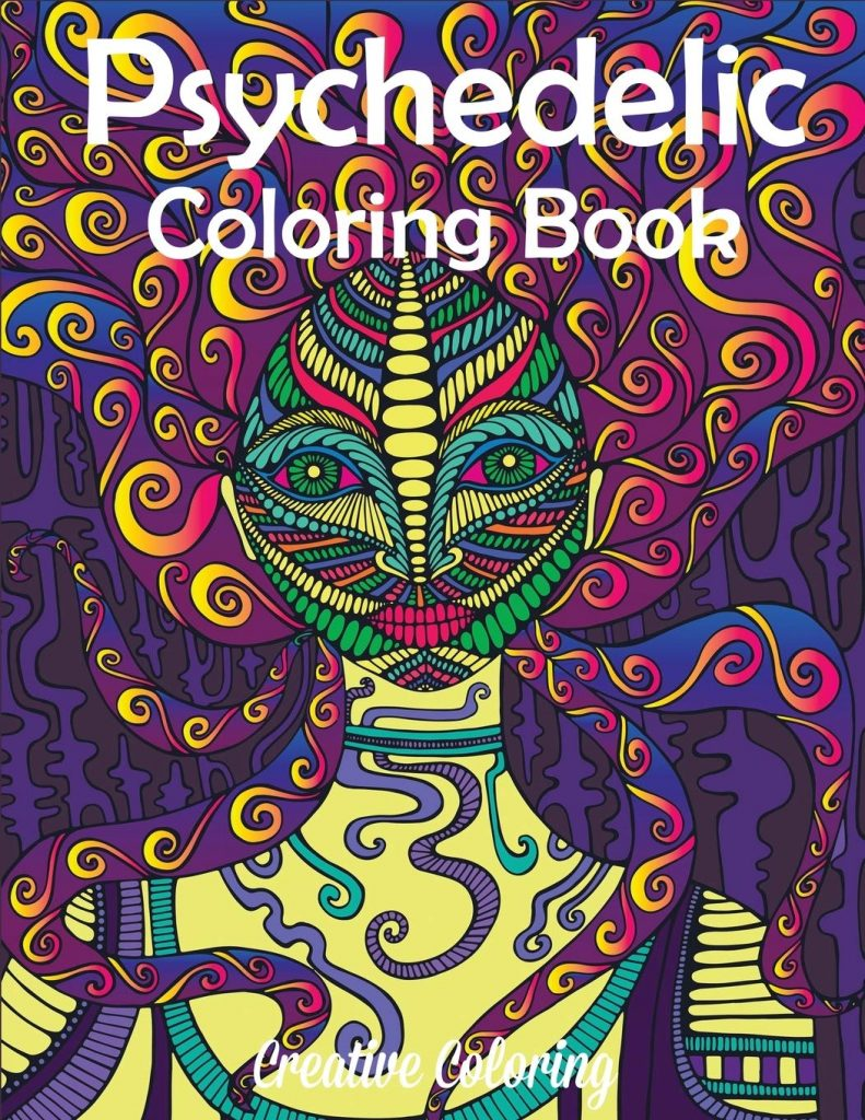 A psychedelic coloring book made with colorful patterns and shapes.