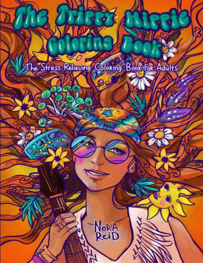 The trippy hippie coloring book cover, including the face of a girl hippie.